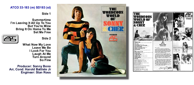 Sonny Amp Cher 1966 Atco Atlantic Lp Quot The Wondrous World Of